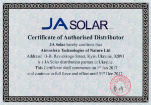 JA Solar Certificate of Authorised Distributor