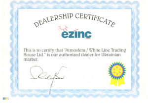 Ezinc Dealership Certificate